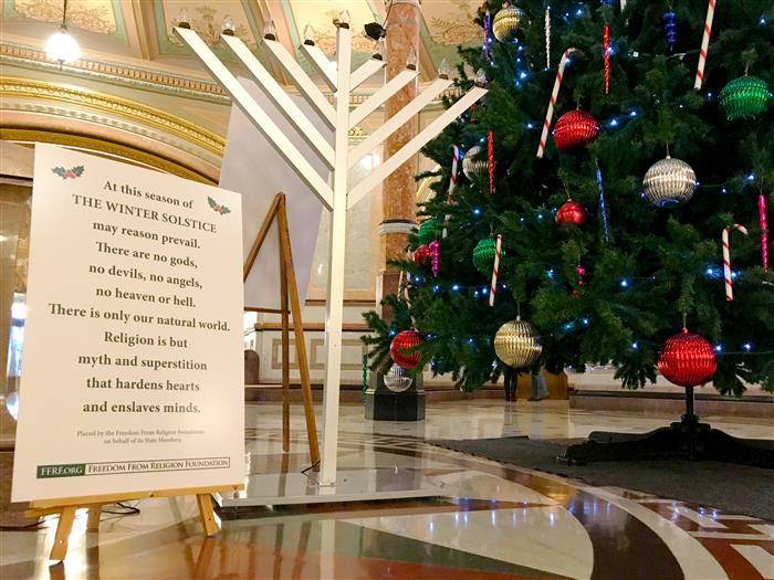 Chanukah menorah added to Capitol rotunda's holiday display
